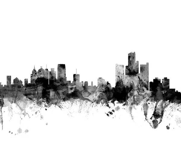 United States Poster featuring the digital art Detroit Michigan Skyline by Michael Tompsett