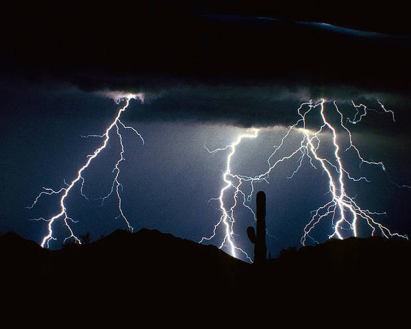 Landscape Poster featuring the photograph 4 Lightning Bolts Fine Art Photography Print by James BO Insogna