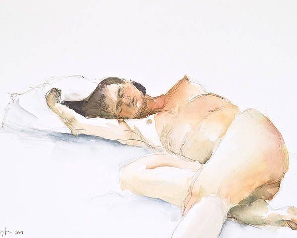 Sleeping Figure Poster featuring the painting Nude Series by Eugenia Picado