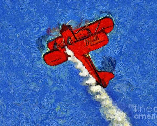 Wingwalker Poster featuring the painting Painting Of Wingwalker Danielle by George Atsametakis