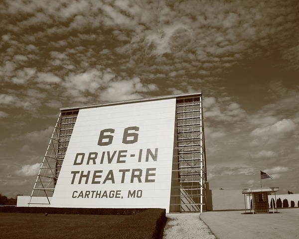 66 Poster featuring the photograph Route 66 Drive-in Theatre by Frank Romeo