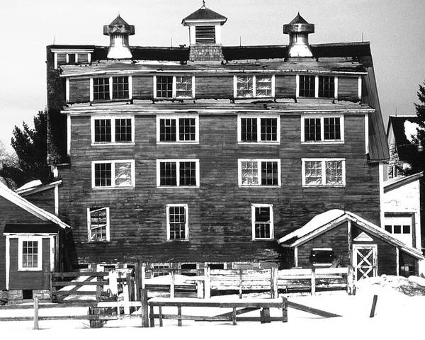 Poster featuring the photograph 4 Story Barn In Winter by Roger Soule