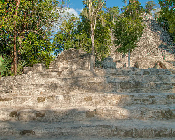 Mexico Quintana Roo Poster featuring the digital art The Church At Grupo Coba At The Coba Ruins by Carol Ailles