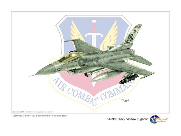 Aviation Poster featuring the drawing 421st Black Widows by Trenton Hill