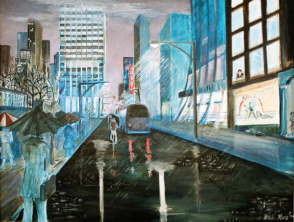 Street Scape Poster featuring the painting 42nd Street Blue by Steve Karol