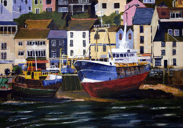 Attraction Poster featuring the mixed media Brixham Harbour by Mike Lester