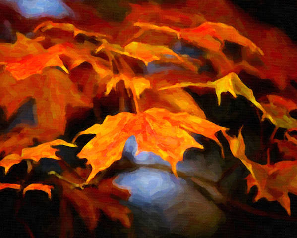 Digital Painting Poster featuring the painting Maple Leaves by Prince Andre Faubert