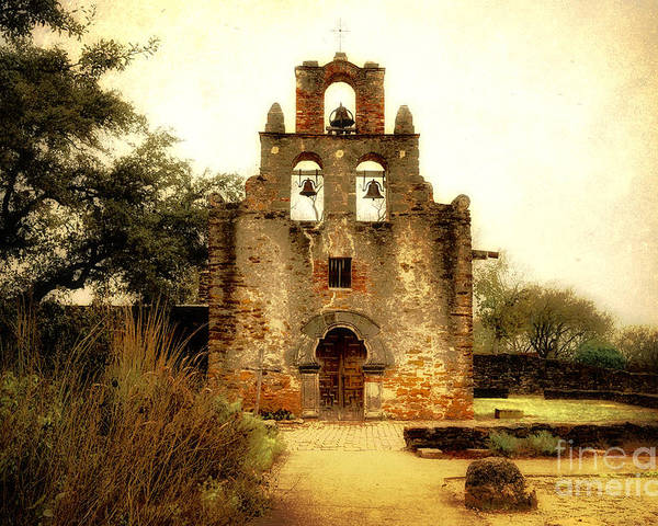 Missions Poster featuring the photograph Mission Espada by Iris Greenwell