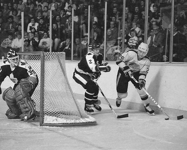 Steve Tobus Poster featuring the photograph Nhl Hockey At The Pacific Coliseum by Steve Tobus