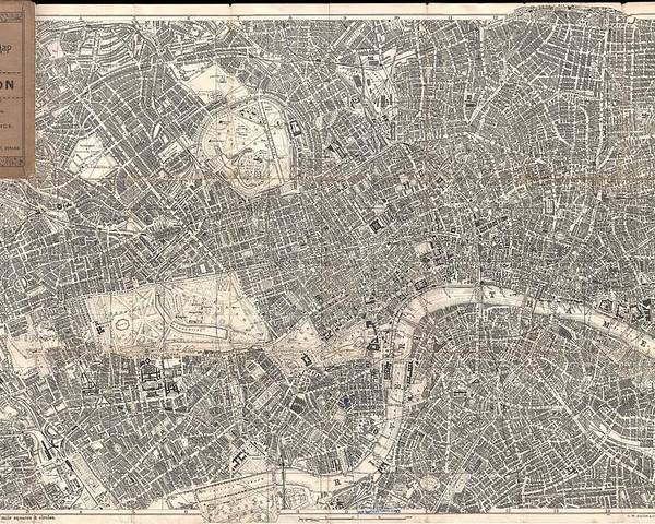 London Poster featuring the drawing Vintage Map Of London England by CartographyAssociates