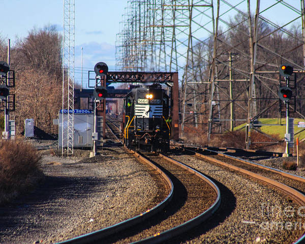This Is The Norfolk Southern 5664 Heading Its Way Past The Bound Brook Train Station Poster featuring the photograph 5664 Norfolk Southern Engine by William Rogers