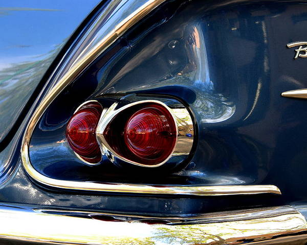 Poster featuring the photograph 58 Bel Air Tail Light by Dean Ferreira