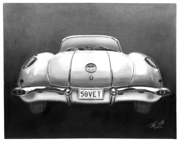 1958 Corvette Poster featuring the drawing 58vet by Peter Piatt