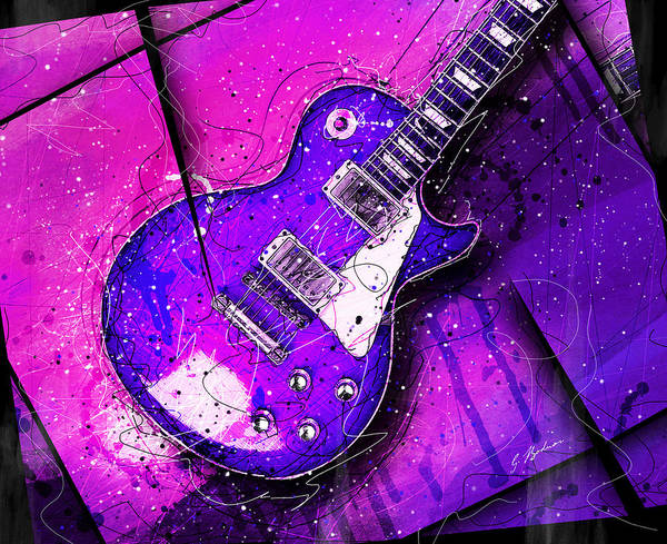 Guitar Poster featuring the digital art 59 In Blue by Gary Bodnar