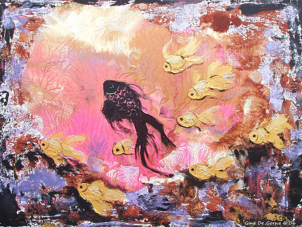 Fish Poster featuring the painting 8 Gold Fish by Gina De Gorna