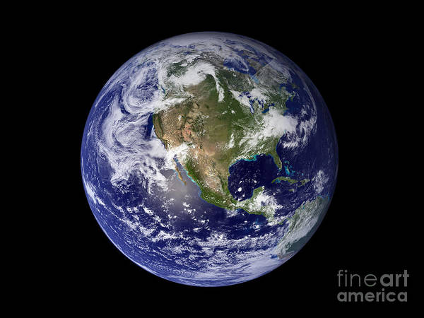 Black Background Poster featuring the photograph Full Earth Showing North America by Stocktrek Images