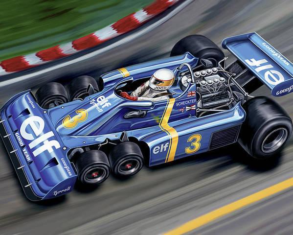 6 Wheel Poster featuring the digital art 6 Wheel Tyrrell P34 F-1 Car by David Kyte