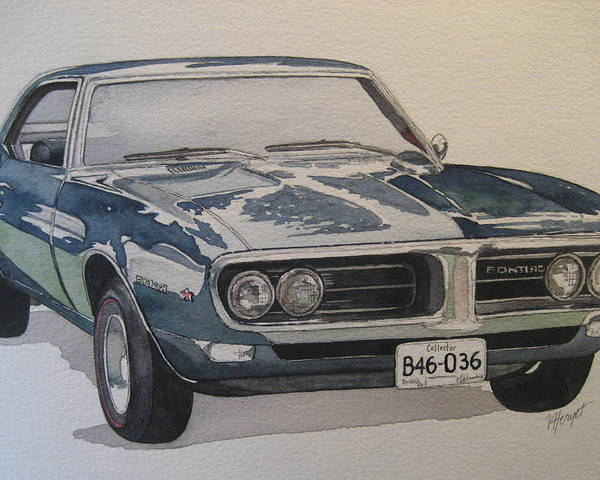 Muscle Car Poster featuring the painting 68 Firebird Sprint by Victoria Heryet