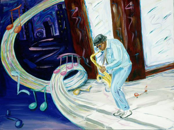 Kevin Callahan Poster featuring the painting 6th Avenue Blues by Kevin Callahan