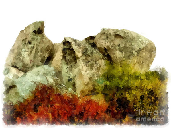 Watercolor Poster featuring the photograph Arzachena Rocks by Giuseppe Cocco