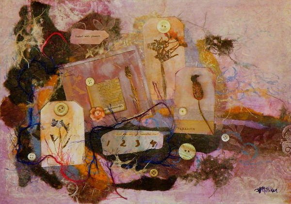 Mixed Media Poster featuring the painting 7 Buttons by Tara Milliken