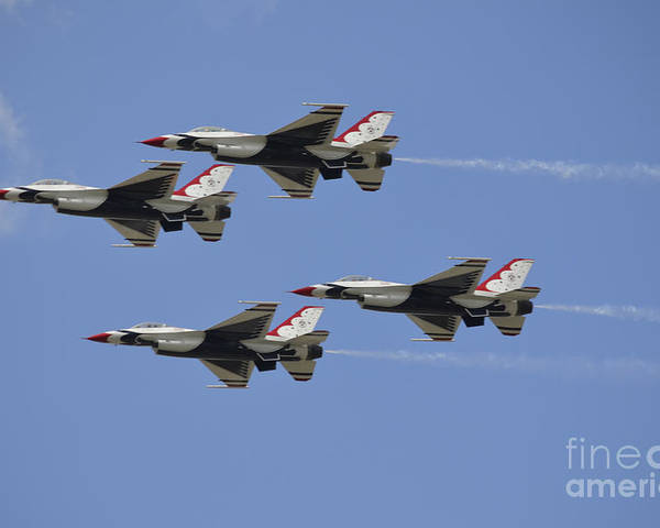 Squadron Poster featuring the photograph The U.s. Air Force Thunderbirds Fly by Stocktrek Images