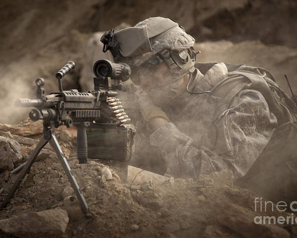 Special Operations Forces Poster featuring the photograph U.s. Army Ranger In Afghanistan Combat by Tom Weber