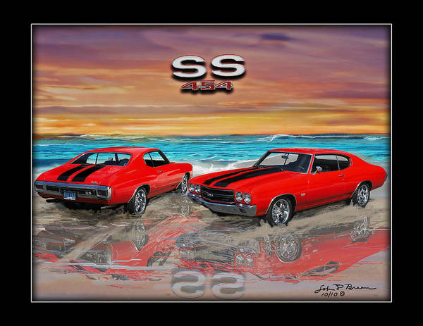 Muscle Car Poster featuring the painting 70 Chevell Ss 454 by John Breen
