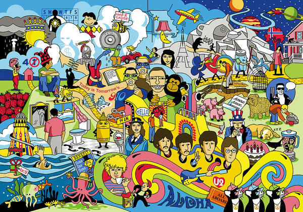 Beatles Poster featuring the digital art 70 illustrated Beatles' song titles by Ron Magnes