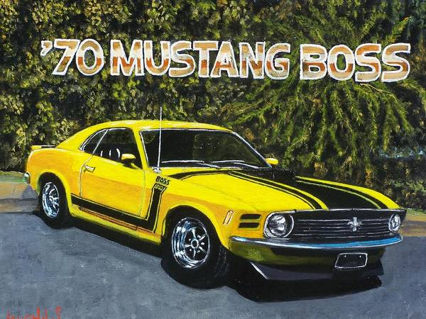 Hotrod Poster featuring the painting 70 Mustang Boss by Charles Vaughn