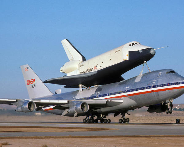 Space Poster featuring the photograph 747 Takes Off With Space Shuttle Enterprise For Alt-4 by Brian Lockett