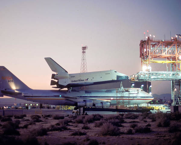 Space Poster featuring the photograph 747 With Space Shuttle Enterprise Before Alt-4 by Brian Lockett