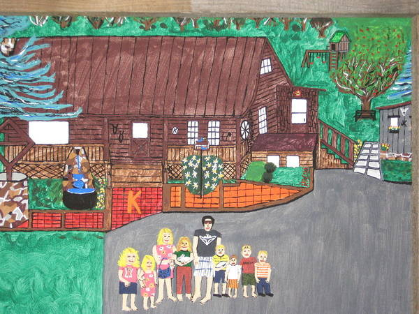 Girls Poster featuring the painting 9 Grand Kids by Jeffrey Koss