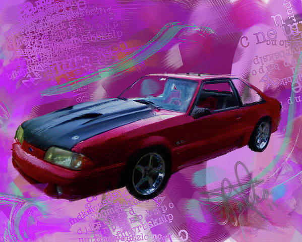 1993 Mustang Poster featuring the painting 93 Mustang V2 by Donald Pavlica