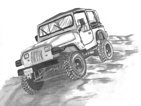94 jeep wrangler poster by crystal suppes jeep poster featuring the drawing 94 jeep wrangler by crystal suppes sciox Image collections