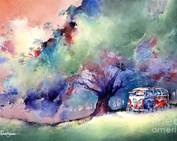Vw Poster featuring the painting A 23 Window Vw Bus At Rest by Michael David Sorensen