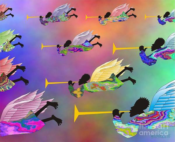 Angels Poster featuring the digital art A Band Of Angels by Walter Oliver Neal
