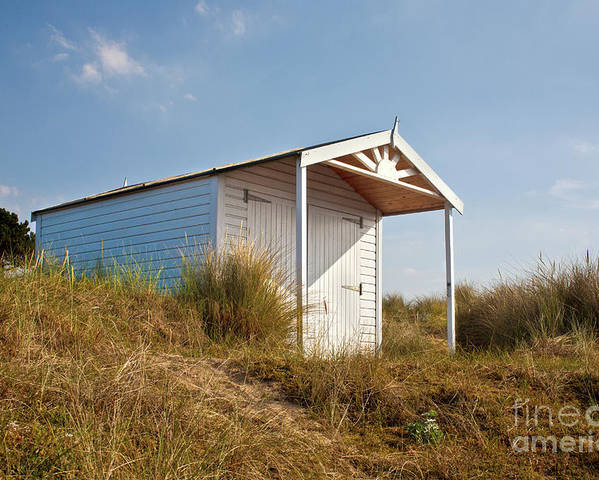 Hut Poster featuring the photograph A Beach Hut In The Marram Grass At Old Hunstanton North Norfolk by John Edwards