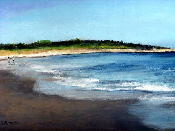 Seascape Poster featuring the painting A Beach In Smithfield by Cindy Plutnicki