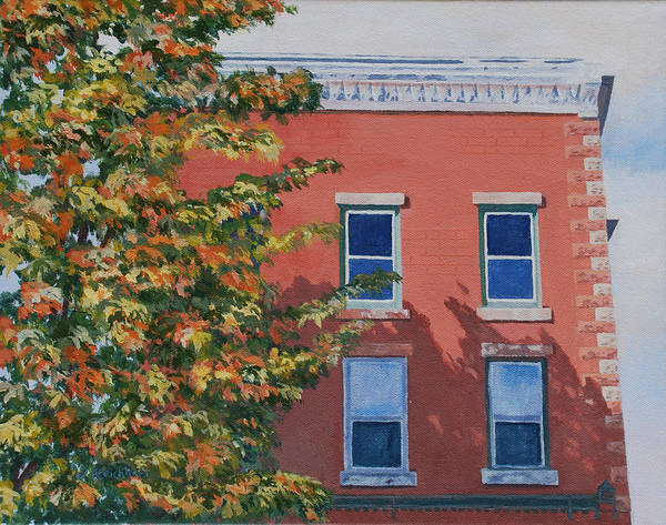 Acrylic Poster featuring the painting A Brick In Time by Lynne Reichhart