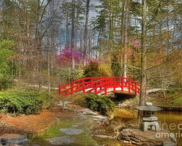 Sarah P. Duke Gardens Poster featuring the photograph A Bridge To Spring by Benanne Stiens
