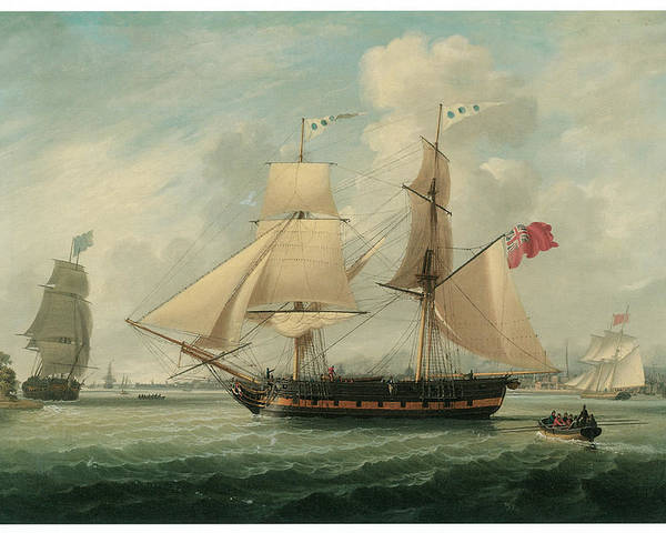 John Jenkinson Poster featuring the painting A Brig Entering Liverpool by John Jenkinson
