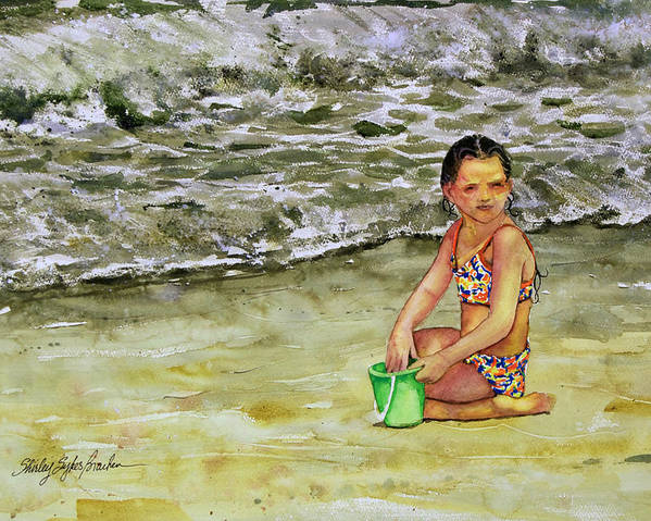 Sun Poster featuring the painting A Bucket Full Of Ocean by Shirley Sykes Bracken