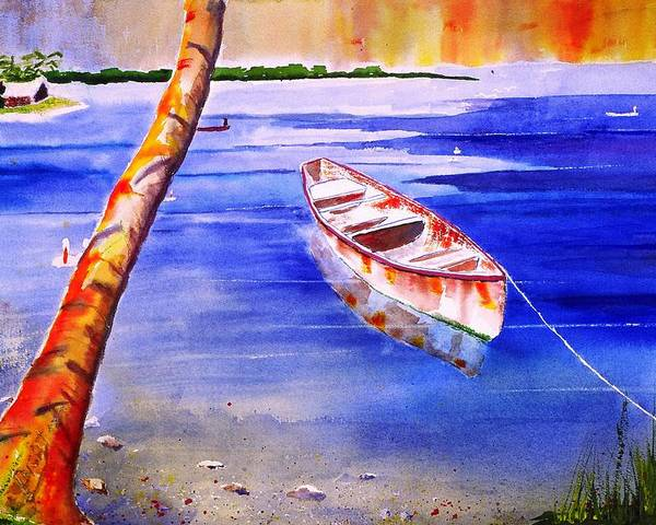 Seascape Poster featuring the painting A Canoa by Buster Dight