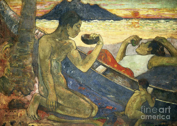 A Canoe (tahitian Family) Poster featuring the painting A Canoe by Paul Gauguin