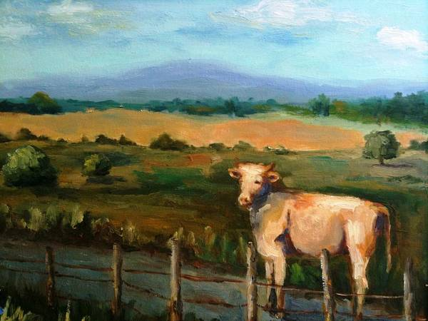 Landscape And Cow Poster featuring the painting A Cow Up In Missouri by Sharon Franke