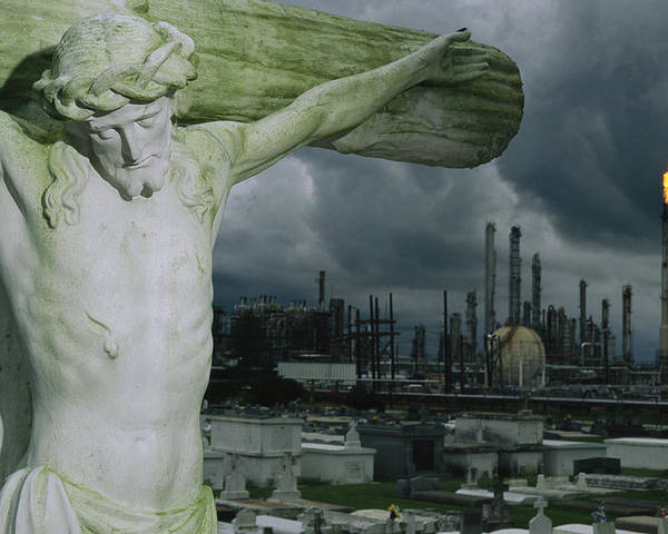 North America Poster featuring the photograph A Crucifixion Statue In A Cemetery by Joel Sartore