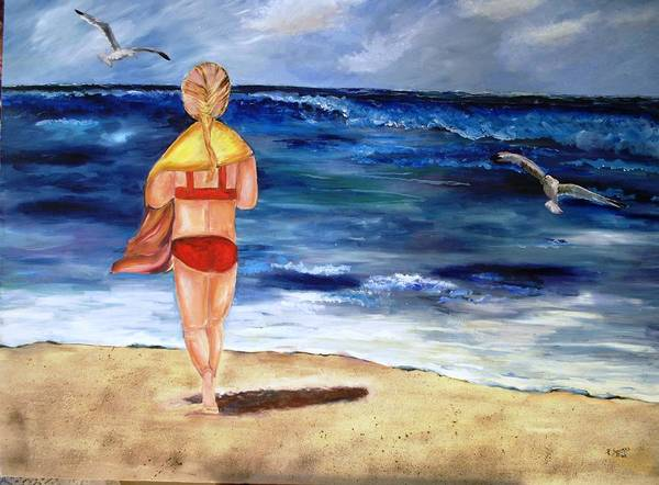 Children Poster featuring the painting A Day At The Beach by Pamela Squires