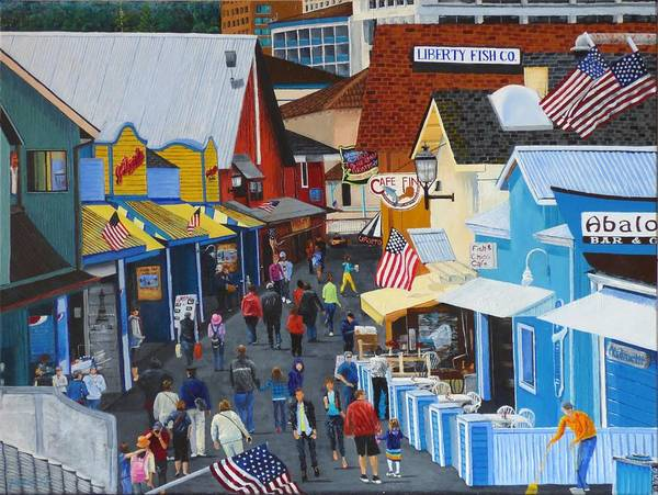 Landscape Poster featuring the painting A Day At The Wharf by Jacqueline Davis