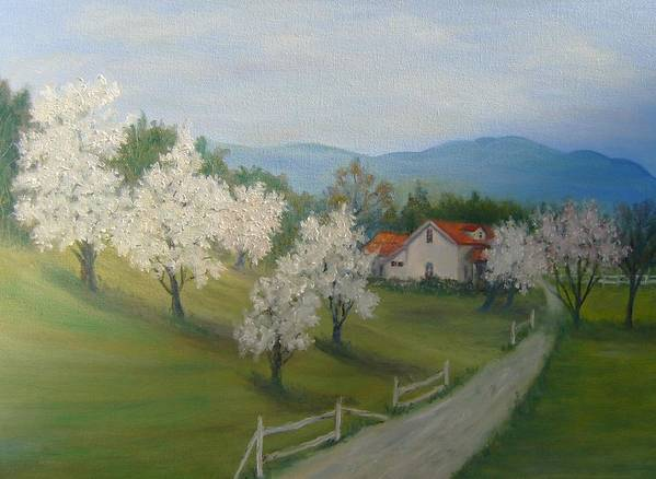 Landscape; Spring; Mountains; Country Road; House Poster featuring the painting A Day In The Country by Ben Kiger